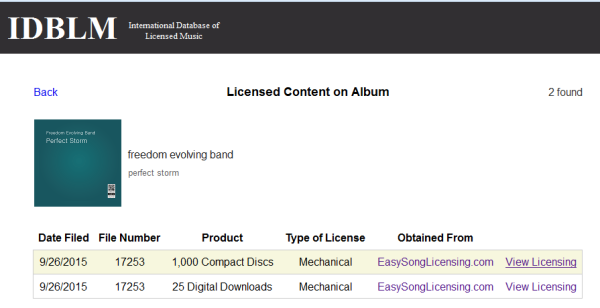Proof of licensing in IDBLM database